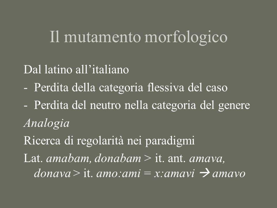 Il mutamento morfologico Dal latino allitaliano -Perdita della categoria flessiva del caso -Perdita del neutro nella categoria del genere Analogia Ric