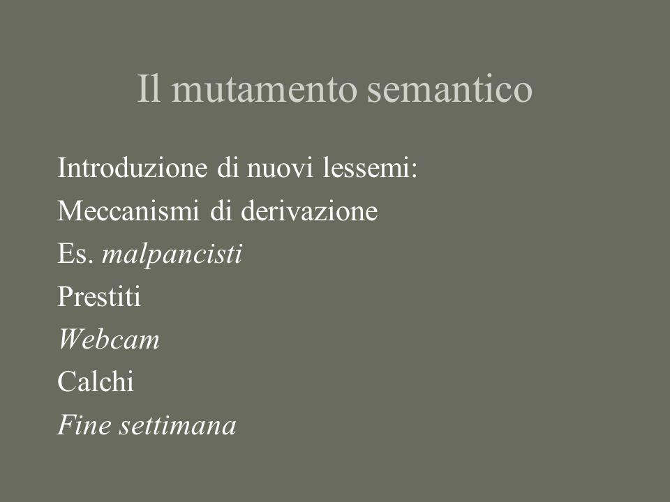 Il mutamento semantico Introduzione di nuovi lessemi: Meccanismi di derivazione Es. malpancisti Prestiti Webcam Calchi Fine settimana