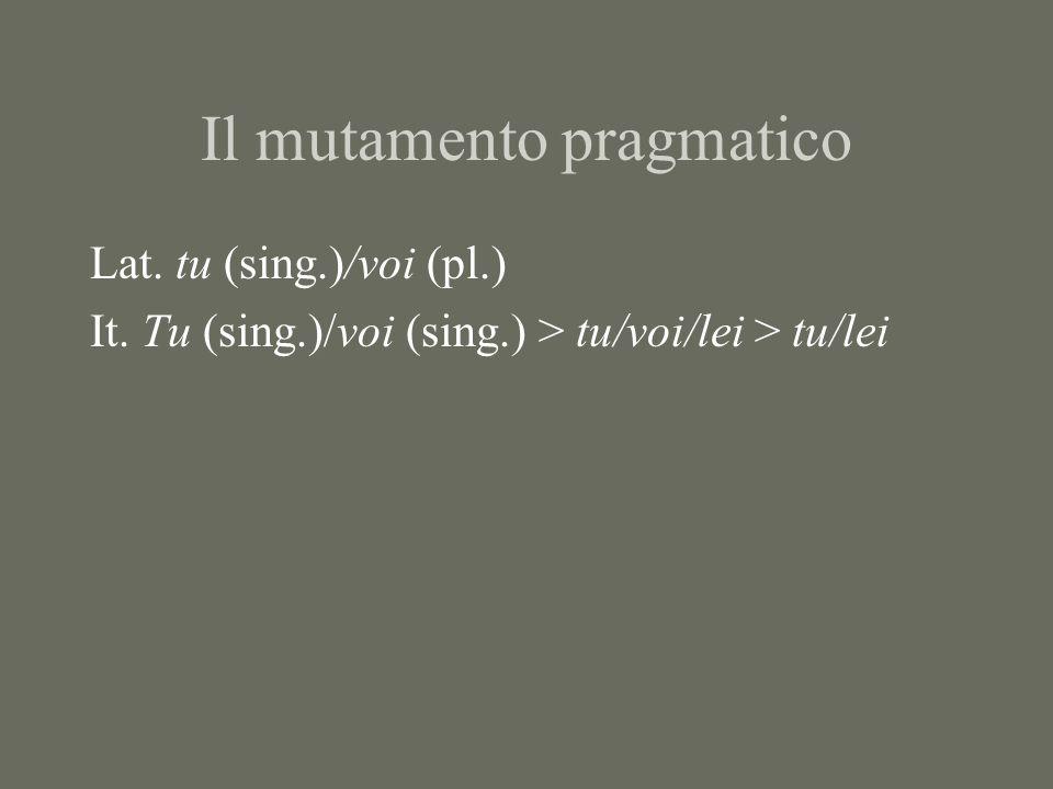 Il mutamento pragmatico Lat. tu (sing.)/voi (pl.) It. Tu (sing.)/voi (sing.) > tu/voi/lei > tu/lei