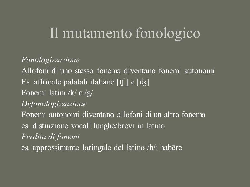 Il mutamento fonologico Fonologizzazione Allofoni di uno stesso fonema diventano fonemi autonomi Es. affricate palatali italiane [t ʃ ] e [ ʤ ] Fonemi