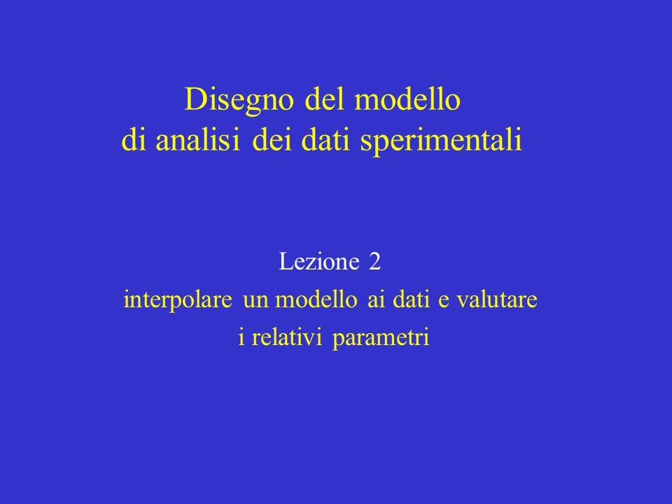 Disegno del modello di analisi dei dati sperimentali Lezione 2 interpolare un modello ai dati e valutare i relativi parametri