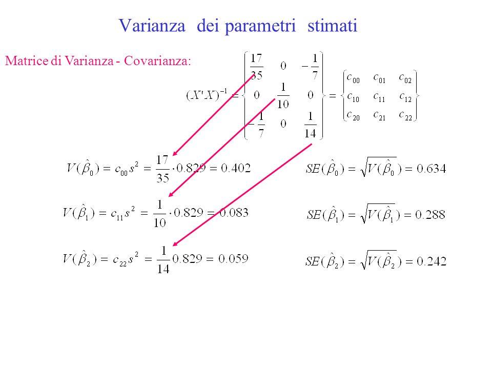 Varianza dei parametri stimati Matrice di Varianza - Covarianza: