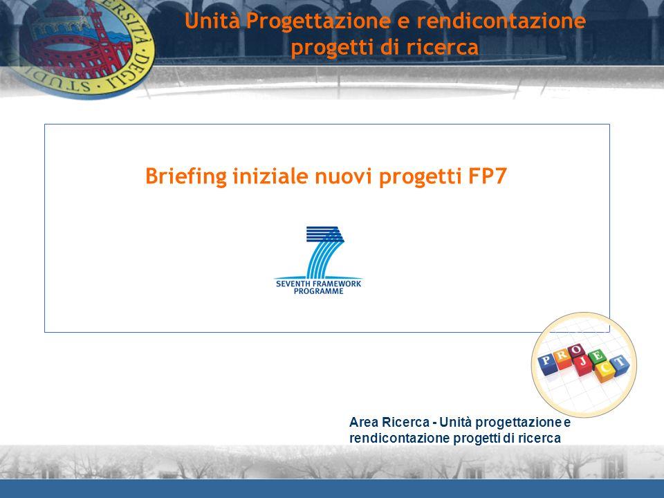 Briefing iniziale nuovi progetti FP7 Unità Progettazione e rendicontazione progetti di ricerca Area Ricerca - Unità progettazione e rendicontazione pr