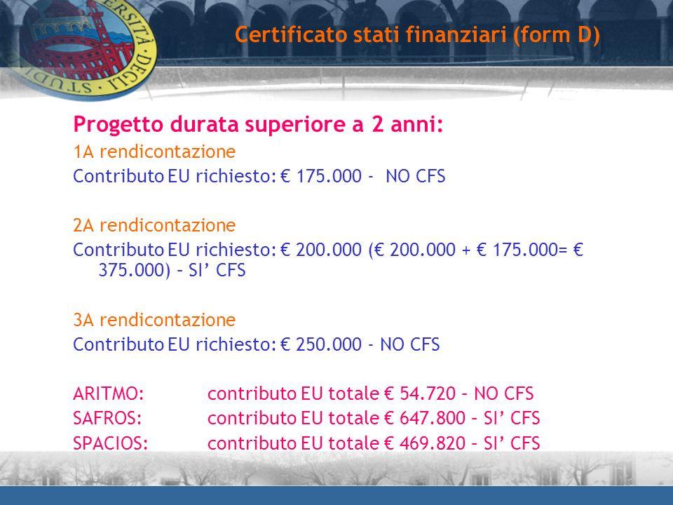 Progetto durata superiore a 2 anni: 1A rendicontazione Contributo EU richiesto: 175.000 - NO CFS 2A rendicontazione Contributo EU richiesto: 200.000 (