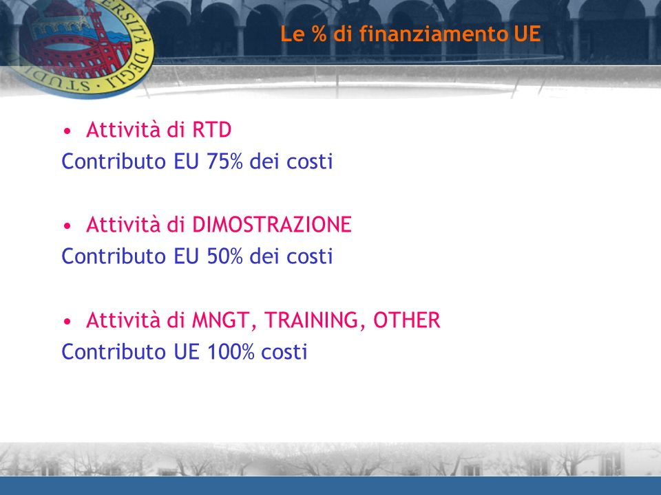 Le % di finanziamento UE Attività di RTD Contributo EU 75% dei costi Attività di DIMOSTRAZIONE Contributo EU 50% dei costi Attività di MNGT, TRAINING,