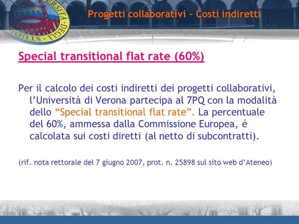 Special transitional flat rate (60%) Per il calcolo dei costi indiretti dei progetti collaborativi, lUniversità di Verona partecipa al 7PQ con la moda