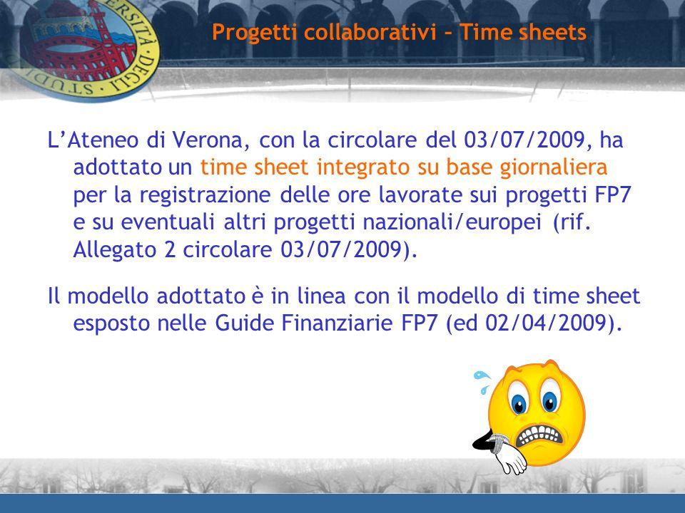 LAteneo di Verona, con la circolare del 03/07/2009, ha adottato un time sheet integrato su base giornaliera per la registrazione delle ore lavorate su