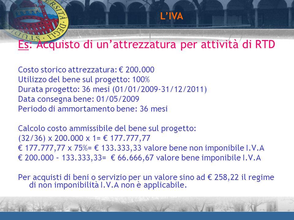 Es: Acquisto di unattrezzatura per attività di RTD Costo storico attrezzatura: 200.000 Utilizzo del bene sul progetto: 100% Durata progetto: 36 mesi (