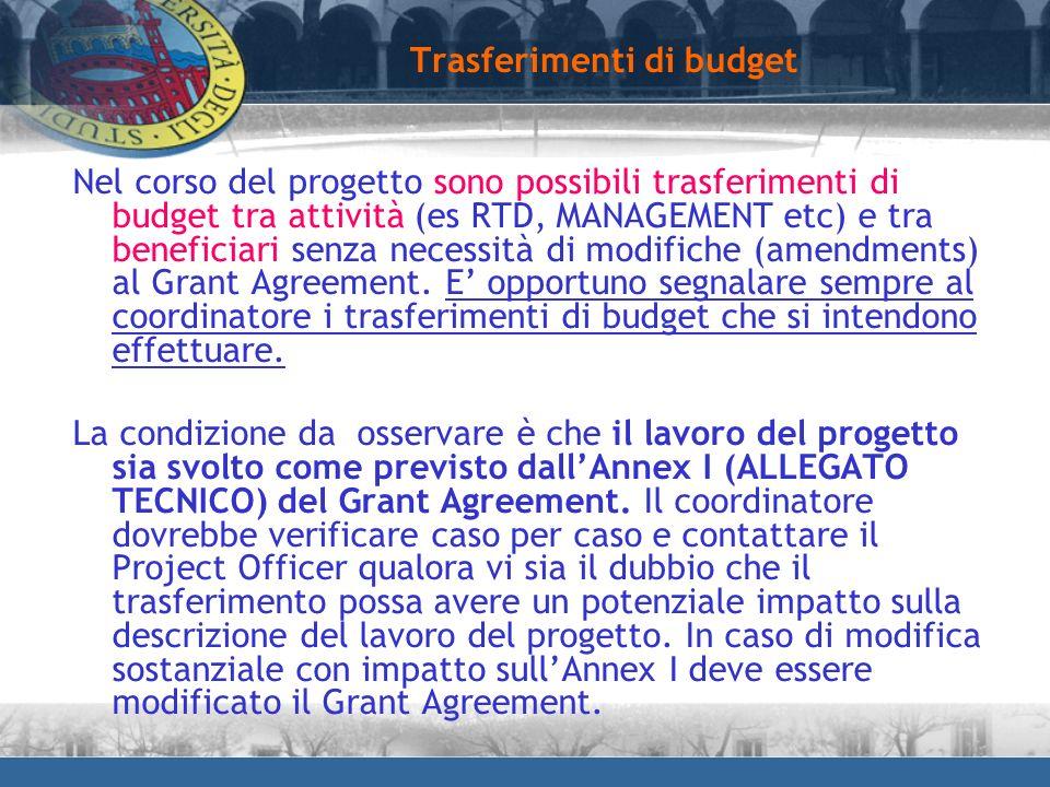 Trasferimenti di budget Nel corso del progetto sono possibili trasferimenti di budget tra attività (es RTD, MANAGEMENT etc) e tra beneficiari senza ne