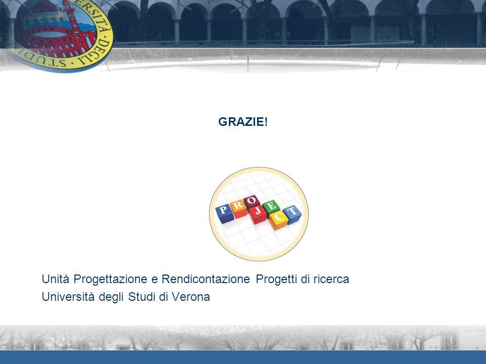 GRAZIE! Unità Progettazione e Rendicontazione Progetti di ricerca Università degli Studi di Verona