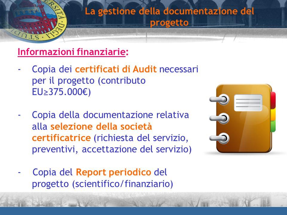 Informazioni finanziarie: -Copia dei certificati di Audit necessari per il progetto (contributo EU375.000) -Copia della documentazione relativa alla s