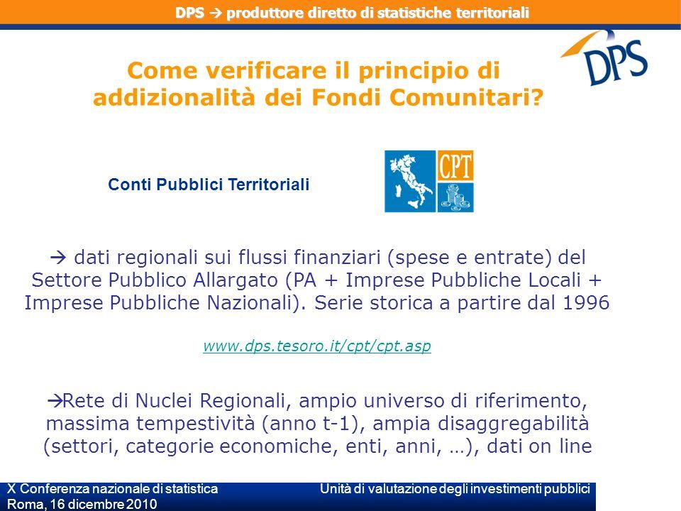 X Conferenza nazionale di statistica Unità di valutazione degli investimenti pubblici Roma, 16 dicembre 2010 dati regionali sui flussi finanziari (spese e entrate) del Settore Pubblico Allargato (PA + Imprese Pubbliche Locali + Imprese Pubbliche Nazionali).