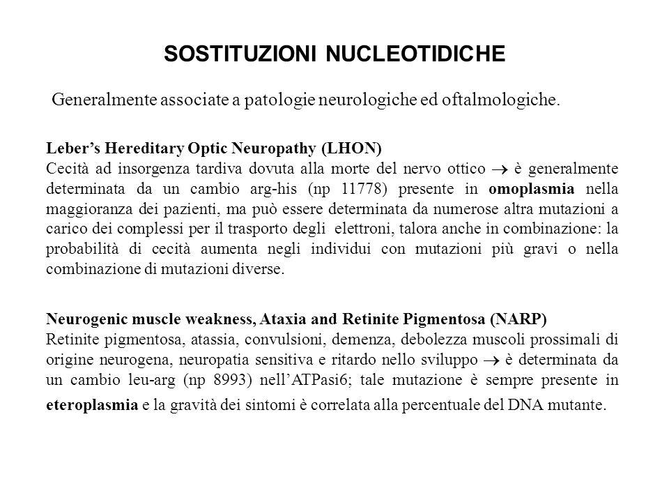 SOSTITUZIONI NUCLEOTIDICHE Generalmente associate a patologie neurologiche ed oftalmologiche. Lebers Hereditary Optic Neuropathy (LHON) Cecità ad inso