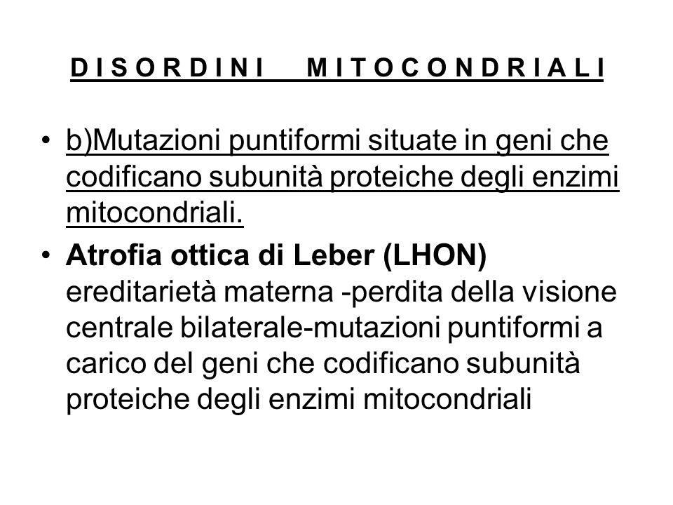 b)Mutazioni puntiformi situate in geni che codificano subunità proteiche degli enzimi mitocondriali. Atrofia ottica di Leber (LHON) ereditarietà mater