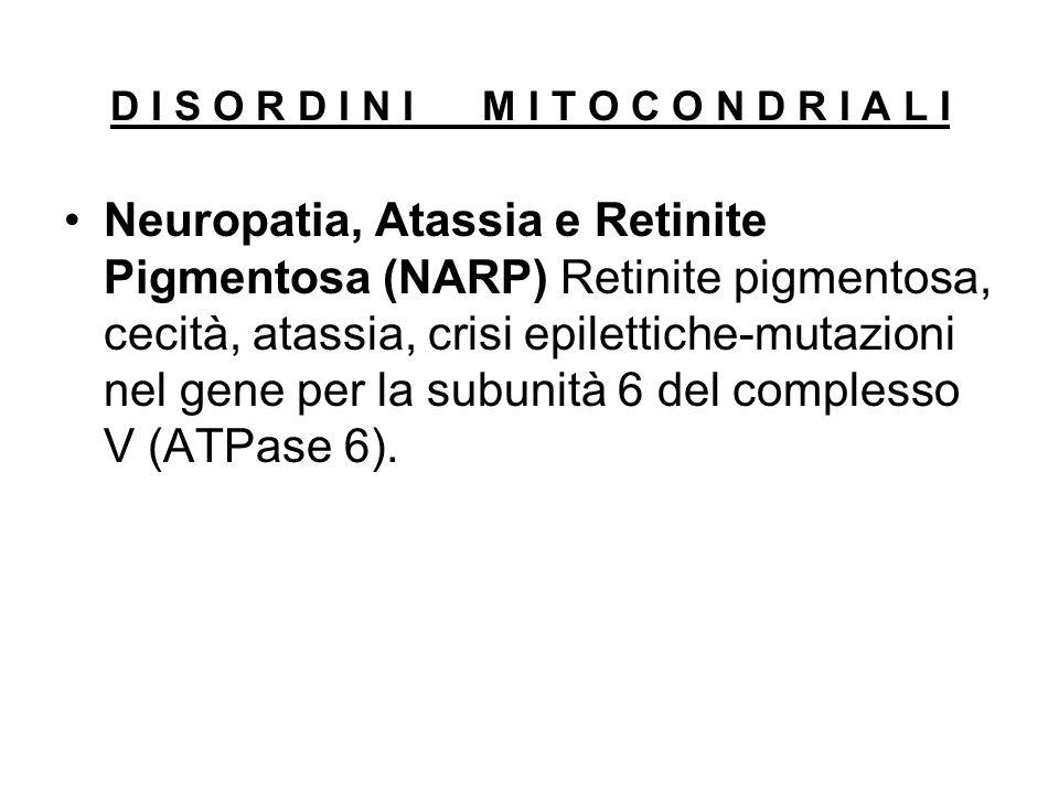 Neuropatia, Atassia e Retinite Pigmentosa (NARP) Retinite pigmentosa, cecità, atassia, crisi epilettiche-mutazioni nel gene per la subunità 6 del comp