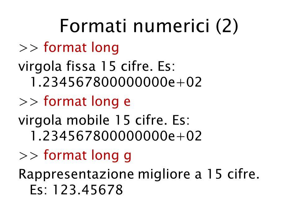 Formati numerici (2) >> format long virgola fissa 15 cifre. Es: 1.234567800000000e+02 >> format long e virgola mobile 15 cifre. Es: 1.234567800000000e