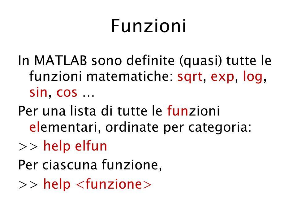 Funzioni In MATLAB sono definite (quasi) tutte le funzioni matematiche: sqrt, exp, log, sin, cos … Per una lista di tutte le funzioni elementari, ordi