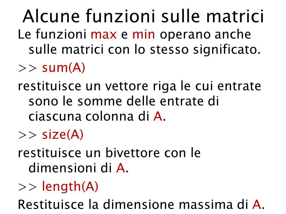 Alcune funzioni sulle matrici Le funzioni max e min operano anche sulle matrici con lo stesso significato. >> sum(A) restituisce un vettore riga le cu