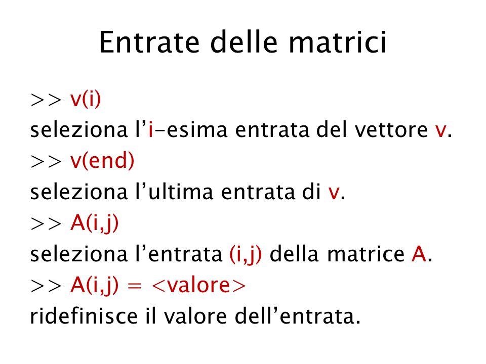 Entrate delle matrici >> v(i) seleziona li-esima entrata del vettore v. >> v(end) seleziona lultima entrata di v. >> A(i,j) seleziona lentrata (i,j) d