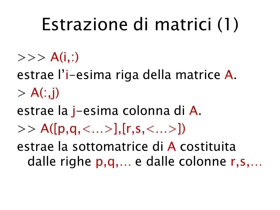 Estrazione di matrici (1) >>> A(i,:) estrae li-esima riga della matrice A. > A(:,j) estrae la j-esima colonna di A. >> A([p,q, ],[r,s, ]) estrae la so