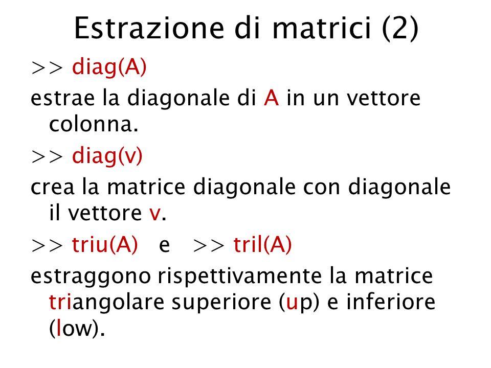 Estrazione di matrici (2) >> diag(A) estrae la diagonale di A in un vettore colonna. >> diag(v) crea la matrice diagonale con diagonale il vettore v.