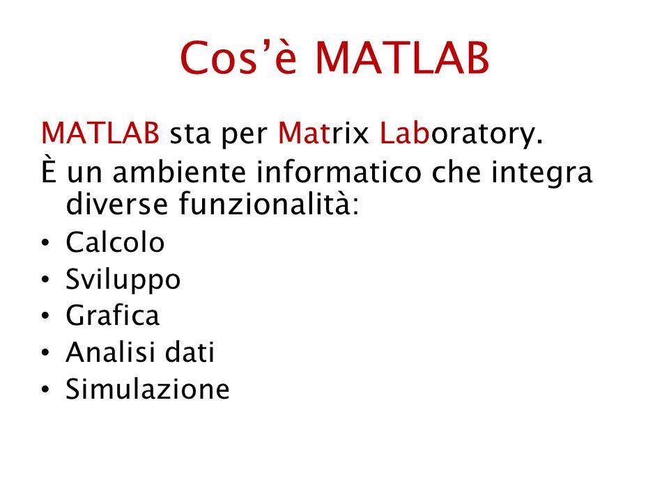Cosè MATLAB MATLAB sta per Matrix Laboratory. È un ambiente informatico che integra diverse funzionalità: Calcolo Sviluppo Grafica Analisi dati Simula