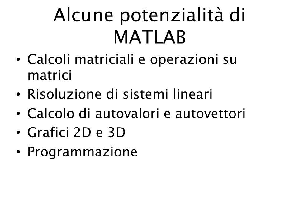 Alcune potenzialità di MATLAB Calcoli matriciali e operazioni su matrici Risoluzione di sistemi lineari Calcolo di autovalori e autovettori Grafici 2D