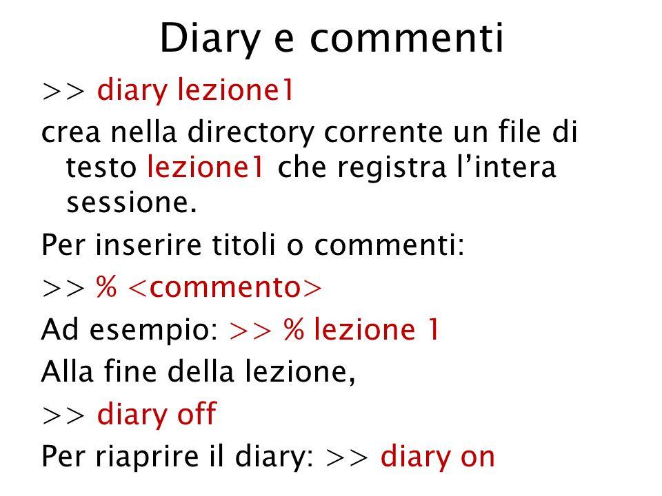 Diary e commenti >> diary lezione1 crea nella directory corrente un file di testo lezione1 che registra lintera sessione. Per inserire titoli o commen