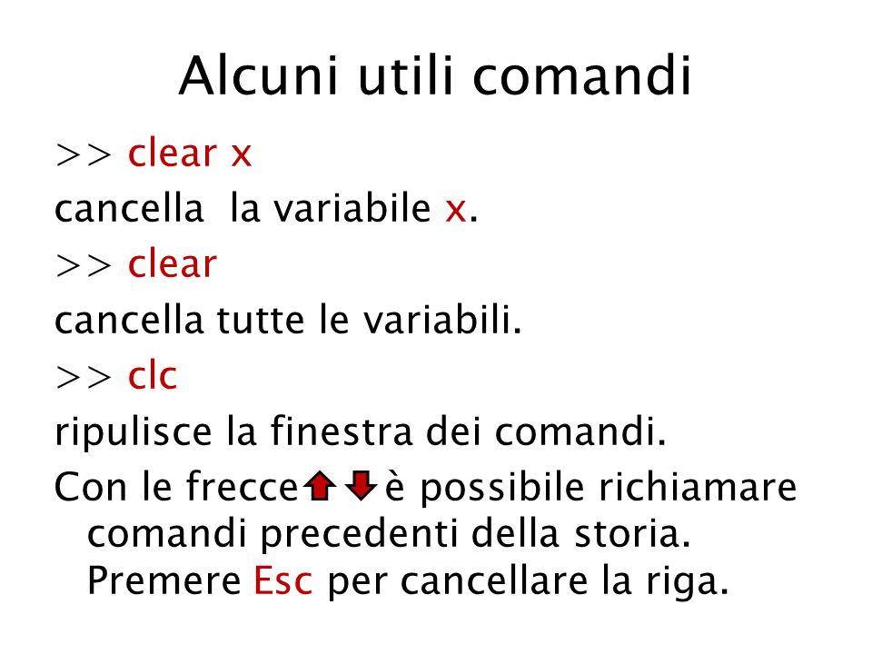 Alcuni utili comandi >> clear x cancella la variabile x. >> clear cancella tutte le variabili. >> clc ripulisce la finestra dei comandi. Con le frecce