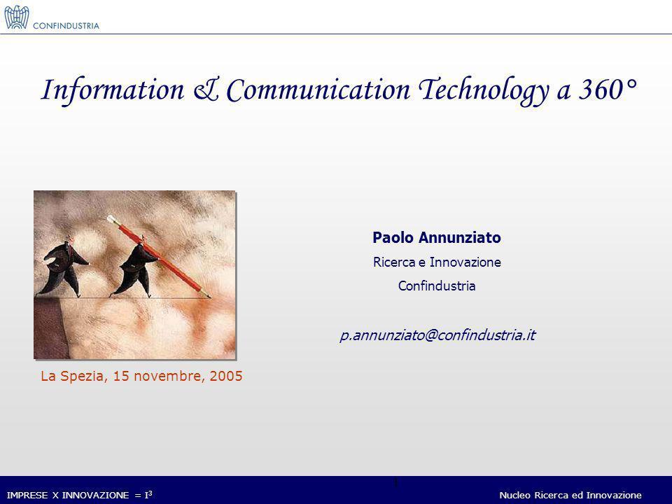 IMPRESE X INNOVAZIONE = I 3 Nucleo Ricerca ed Innovazione 1 Information & Communication Technology a 360° Paolo Annunziato Ricerca e Innovazione Confindustria p.annunziato@confindustria.it La Spezia, 15 novembre, 2005
