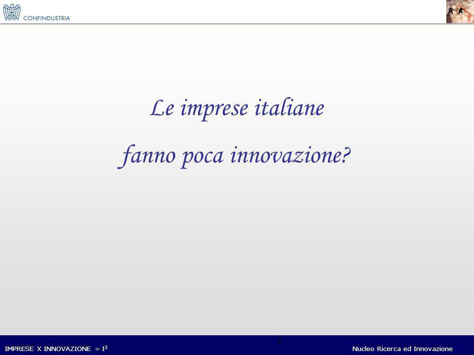 IMPRESE X INNOVAZIONE = I 3 Nucleo Ricerca ed Innovazione 13 ORGANIZZAZIONE: IL GAP ITALIA-EUROPA (UE4*=100) * I primi quattro paesi per la quota di imprese innovatrici sono Germania, Belgio, Austria e Svezia.
