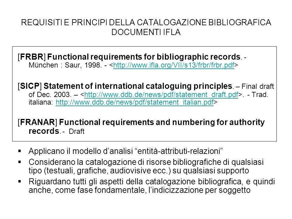 REQUISITI E PRINCIPI DELLA CATALOGAZIONE BIBLIOGRAFICA DOCUMENTI IFLA [FRBR] Functional requirements for bibliographic records. - München : Saur, 1998