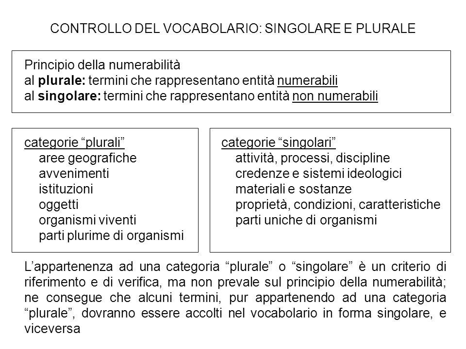 CONTROLLO DEL VOCABOLARIO: SINGOLARE E PLURALE Principio della numerabilità al plurale: termini che rappresentano entità numerabili al singolare: term