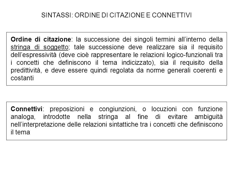 SINTASSI: ORDINE DI CITAZIONE E CONNETTIVI Ordine di citazione: la successione dei singoli termini allinterno della stringa di soggetto; tale successi