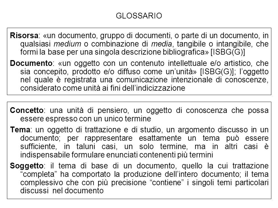 GLOSSARIO Risorsa: «un documento, gruppo di documenti, o parte di un documento, in qualsiasi medium o combinazione di media, tangibile o intangibile,