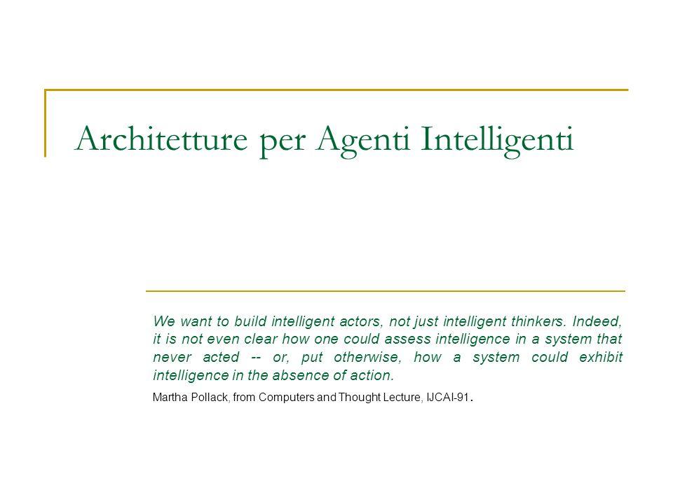 Architetture layered Visto che un agente ha un comportamento reattivo e pro-attivo, perché non creare sottosistemi divisi, ognuno dei quali implementi una delle due funzioni.