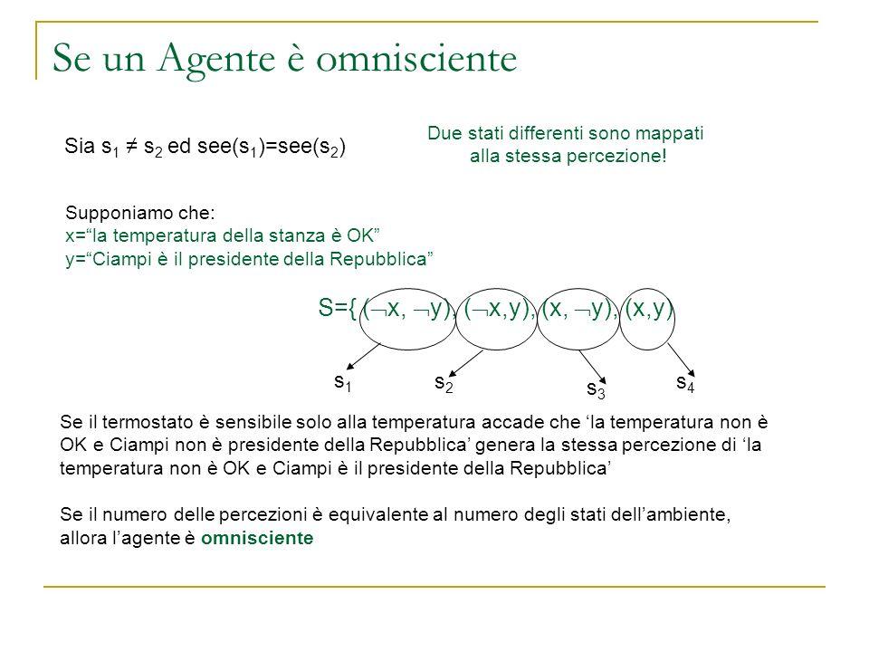 Se un Agente è omnisciente Sia s 1 s 2 ed see(s 1 )=see(s 2 ) Due stati differenti sono mappati alla stessa percezione! Supponiamo che: x=la temperatu