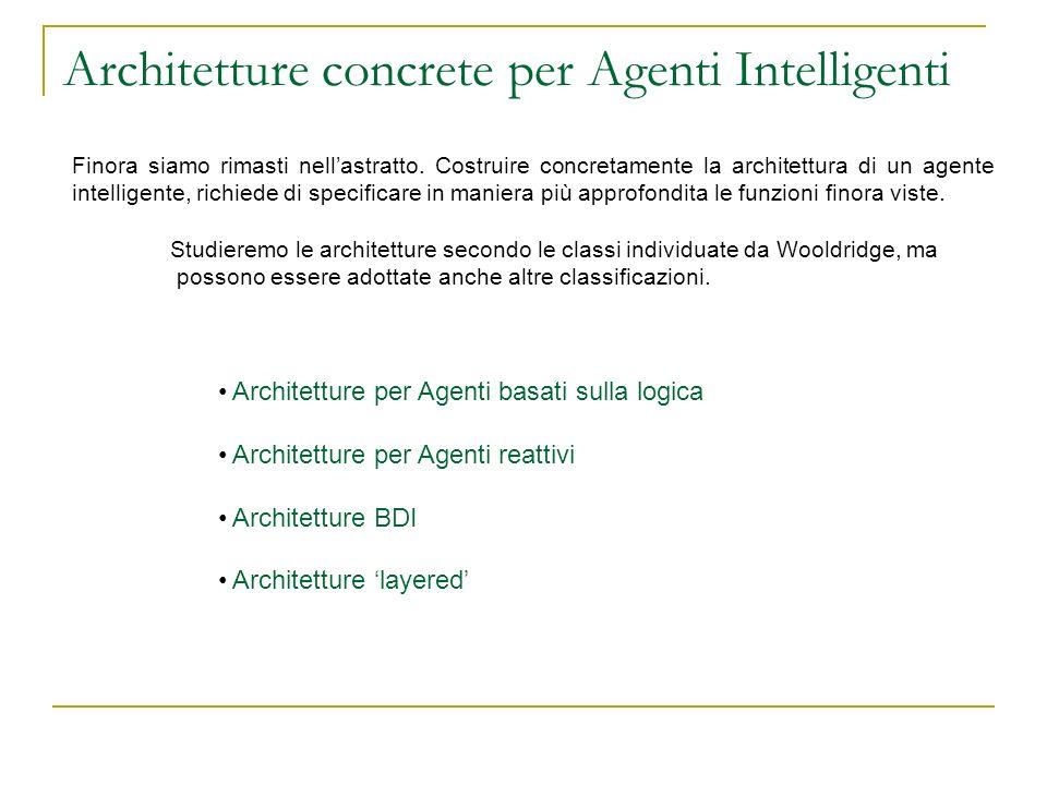 Architetture concrete per Agenti Intelligenti Finora siamo rimasti nellastratto. Costruire concretamente la architettura di un agente intelligente, ri