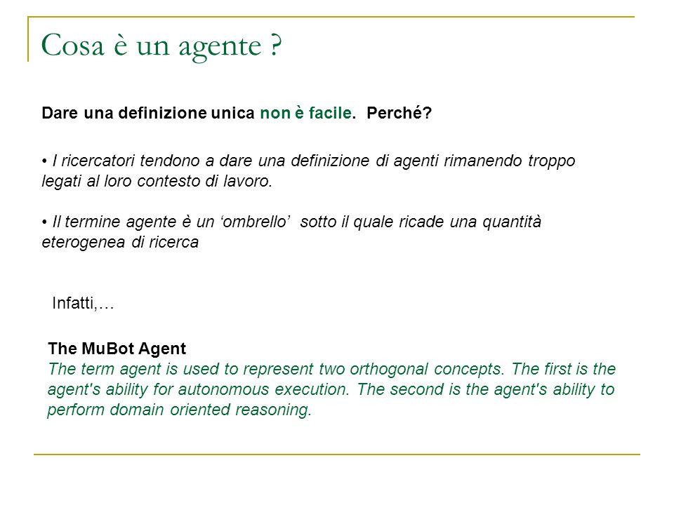 Ora formalizziamo un agente reattivo Sia A linsieme delle azioni che lagente può compiere: A={a 1,a 2,…,a n } Un agente puramente reattivo mappa le sequenze di percezioni in azioni.