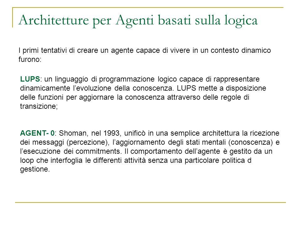 Architetture per Agenti basati sulla logica I primi tentativi di creare un agente capace di vivere in un contesto dinamico furono: LUPS: un linguaggio