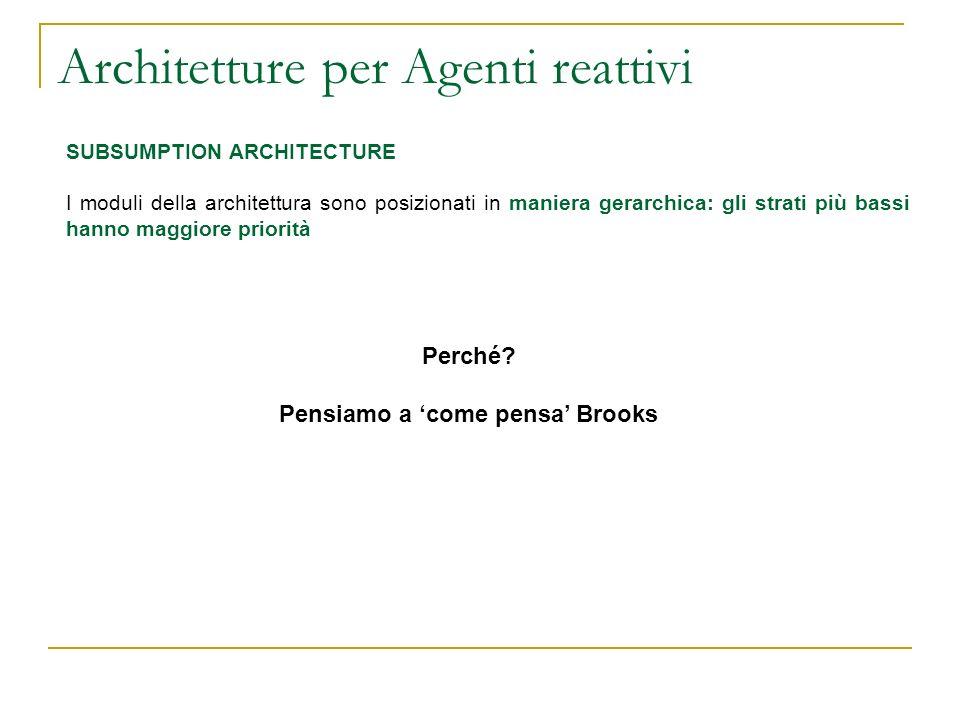Architetture per Agenti reattivi SUBSUMPTION ARCHITECTURE I moduli della architettura sono posizionati in maniera gerarchica: gli strati più bassi han