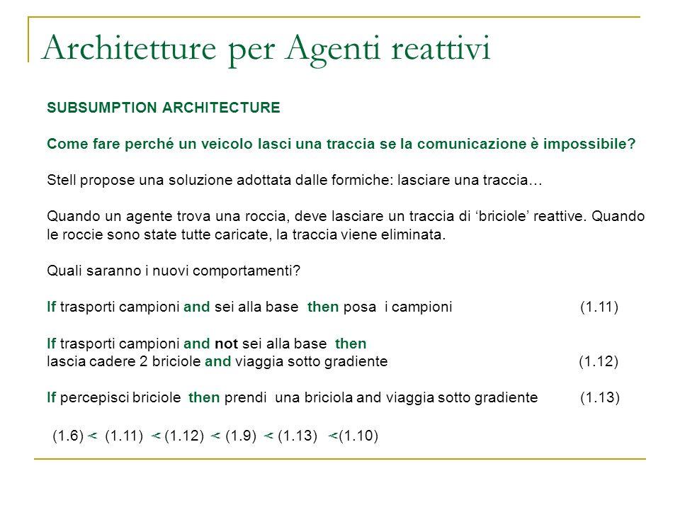 Architetture per Agenti reattivi SUBSUMPTION ARCHITECTURE Come fare perché un veicolo lasci una traccia se la comunicazione è impossibile? Stell propo
