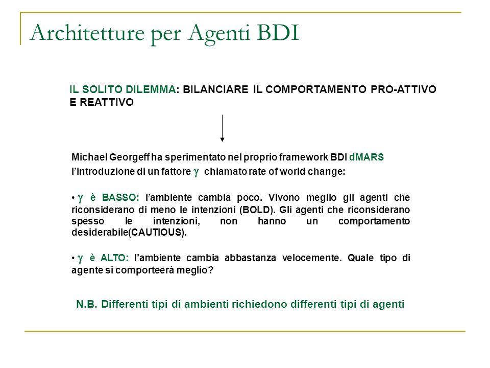Architetture per Agenti BDI IL SOLITO DILEMMA: BILANCIARE IL COMPORTAMENTO PRO-ATTIVO E REATTIVO Michael Georgeff ha sperimentato nel proprio framewor