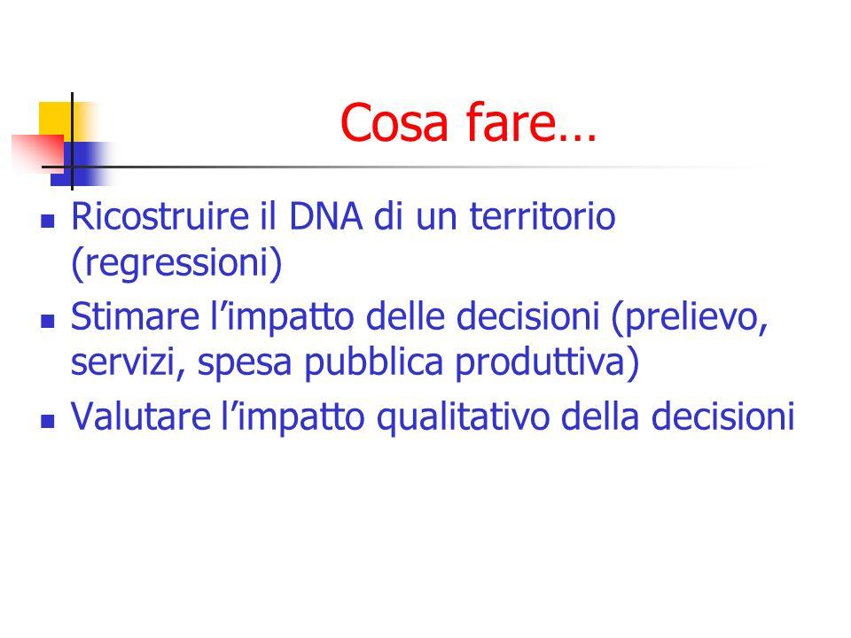 Cosa fare… Ricostruire il DNA di un territorio (regressioni) Stimare limpatto delle decisioni (prelievo, servizi, spesa pubblica produttiva) Valutare