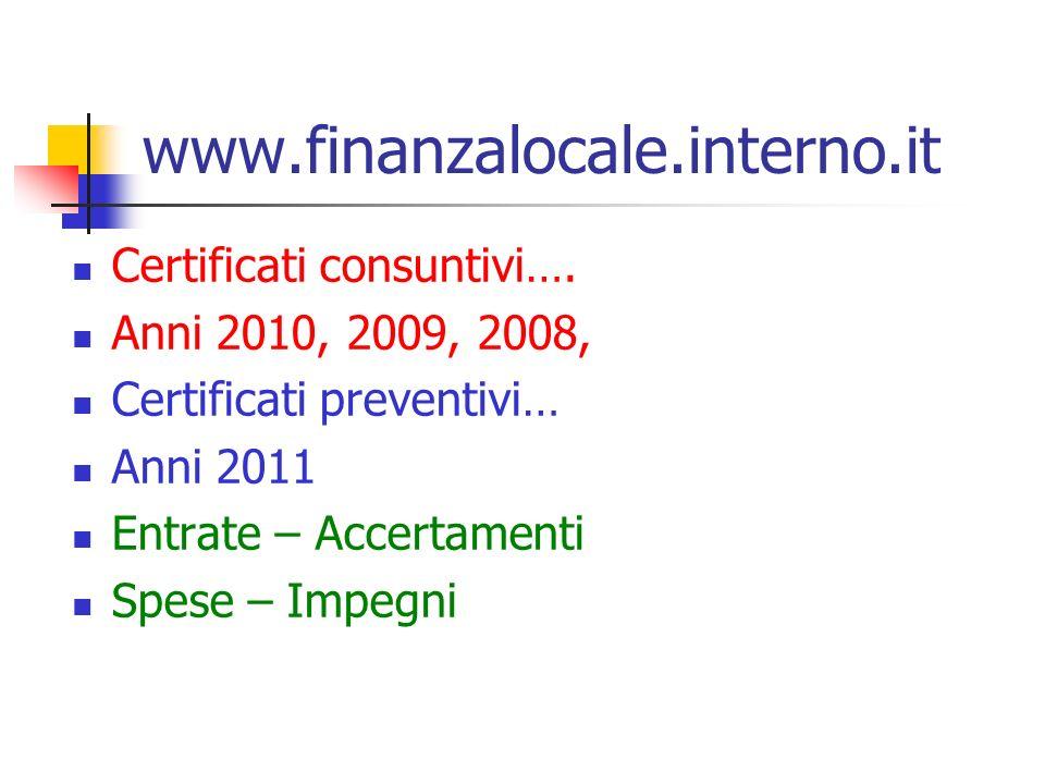 www.finanzalocale.interno.it Certificati consuntivi…. Anni 2010, 2009, 2008, Certificati preventivi… Anni 2011 Entrate – Accertamenti Spese – Impegni