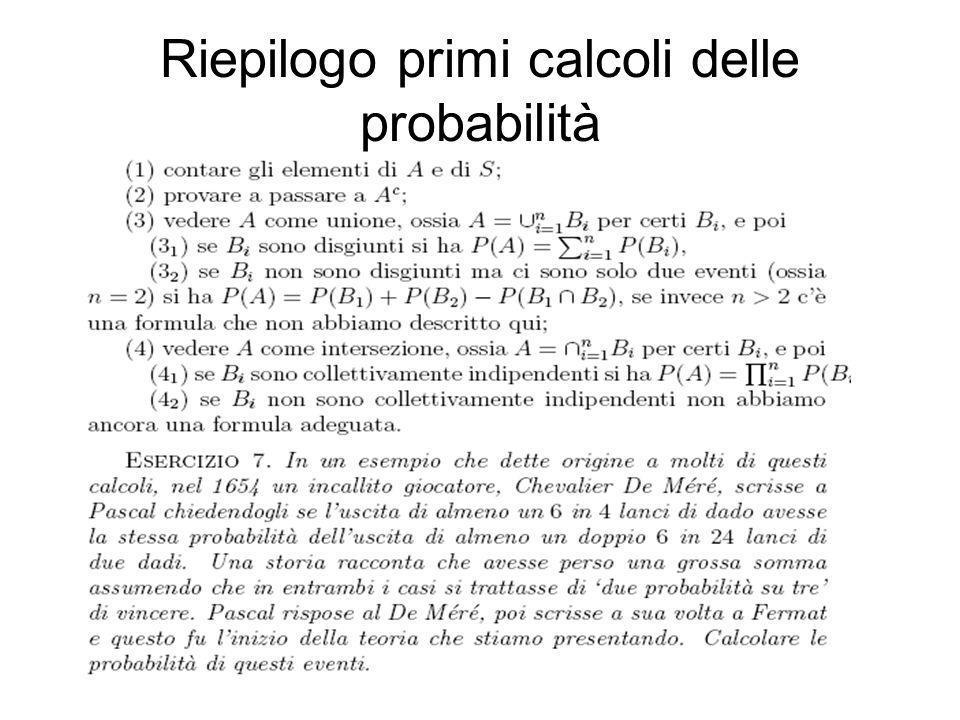 Riepilogo primi calcoli delle probabilità