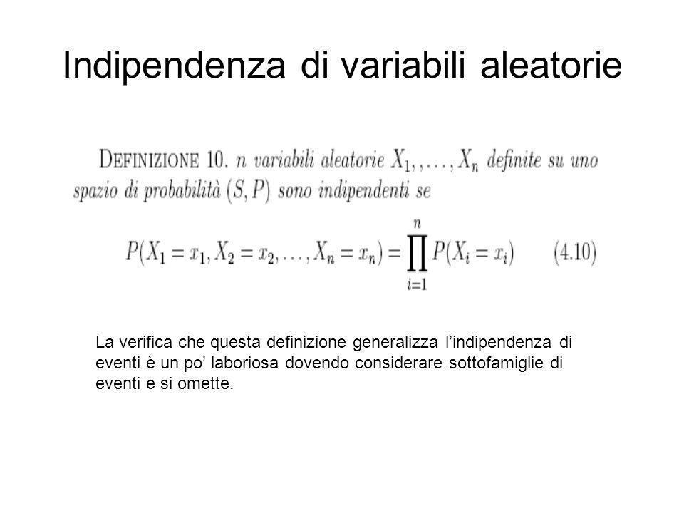 Indipendenza di variabili aleatorie La verifica che questa definizione generalizza lindipendenza di eventi è un po laboriosa dovendo considerare sotto