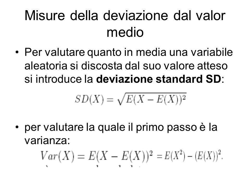Misure della deviazione dal valor medio Per valutare quanto in media una variabile aleatoria si discosta dal suo valore atteso si introduce la deviazi