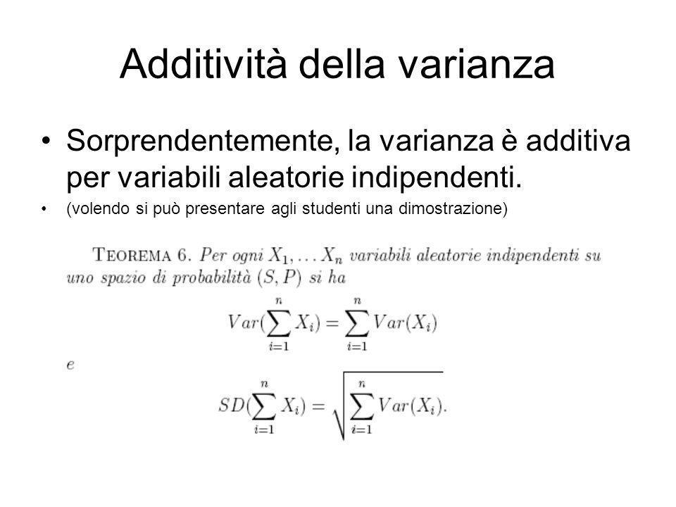 Additività della varianza Sorprendentemente, la varianza è additiva per variabili aleatorie indipendenti. (volendo si può presentare agli studenti una