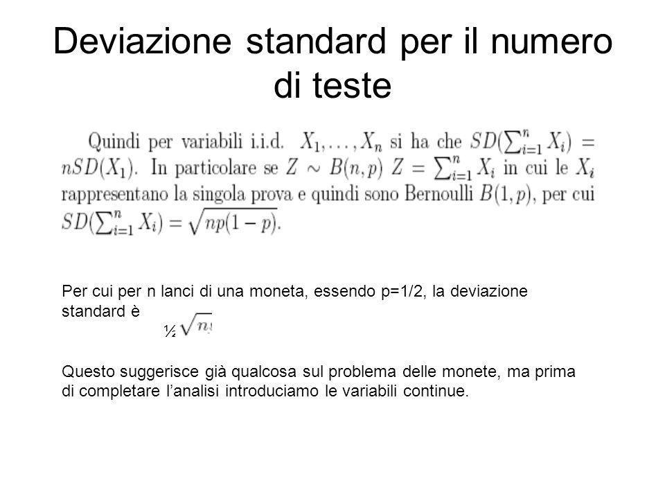 Deviazione standard per il numero di teste Per cui per n lanci di una moneta, essendo p=1/2, la deviazione standard è ½ Questo suggerisce già qualcosa